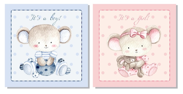 Watercolor baby shower card