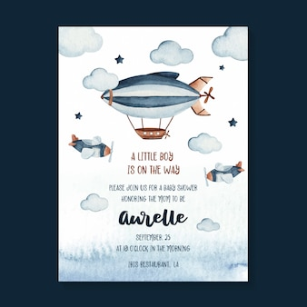 Watercolor baby shower invitation card template with zeppelin and sky scene illustration