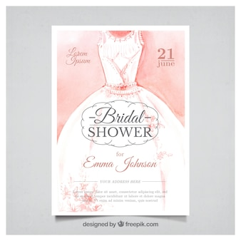 Watercolor bachelorette invitation with wedding dress