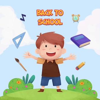 Watercolor back to school background with children character