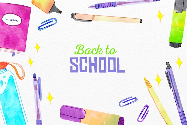 Watercolor back to school background with elements collection
