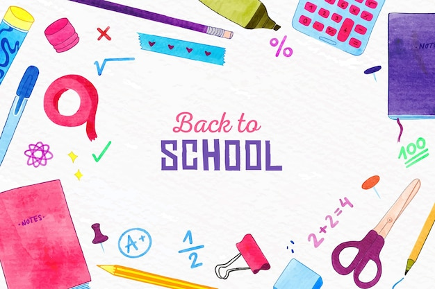 Watercolor back to school background with elements pack