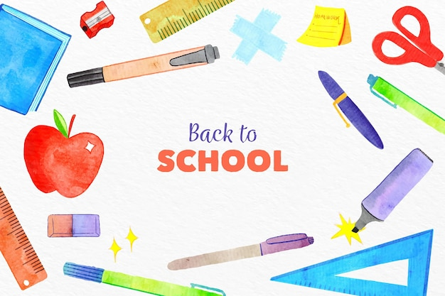 Watercolor back to school background with elements set