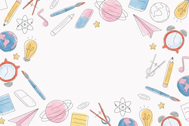 Watercolor back to school background with white space