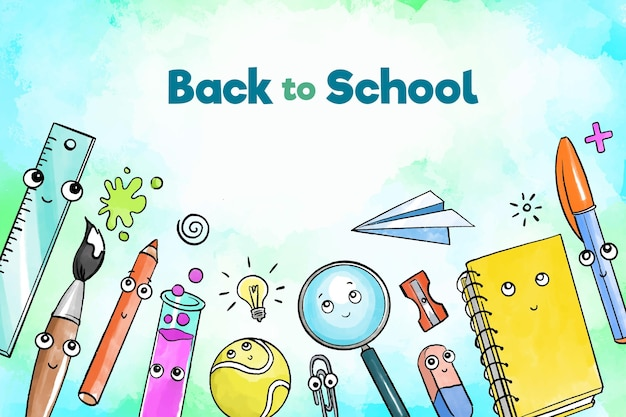 Watercolor back to school background