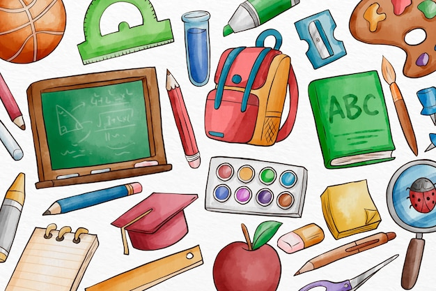 Watercolor back to school background Premium Vector