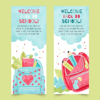 Watercolor back to school banners collection