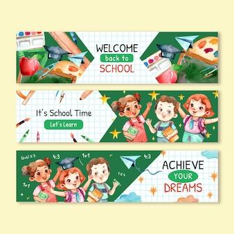 Set di striscioni per il ritorno a scuola dell'acquerello con foto