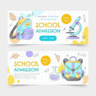 Watercolor back to school banners set