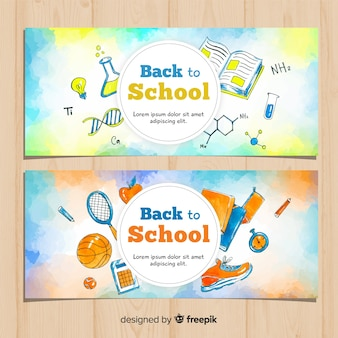 Watercolor back to school banners