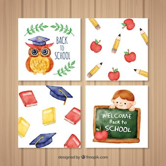 Watercolor back to school card collection