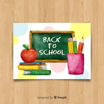 Watercolor back to school card template