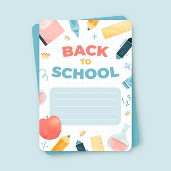 Modello di biglietto per il ritorno a scuola dell'acquerello
