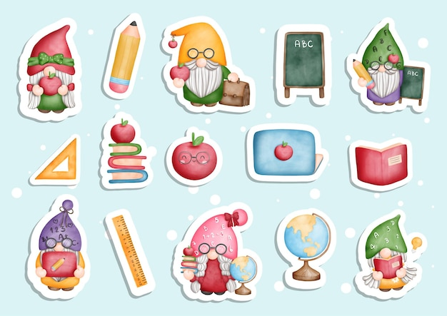 Watercolor back to school gnome sticker planner and scrapbook