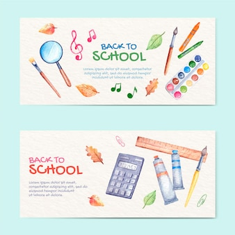 Watercolor back to school horizontal banners set
