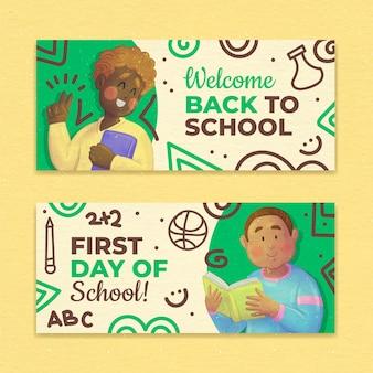 Set di banner orizzontali per il ritorno a scuola dell'acquerello