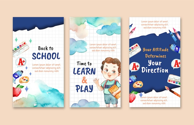 Watercolor back to school instagram stories collection