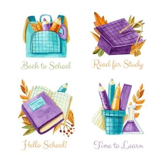 Collezione di etichette per il ritorno a scuola dell'acquerello