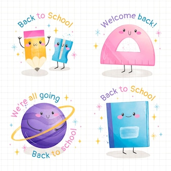 Watercolor back to school labels collection