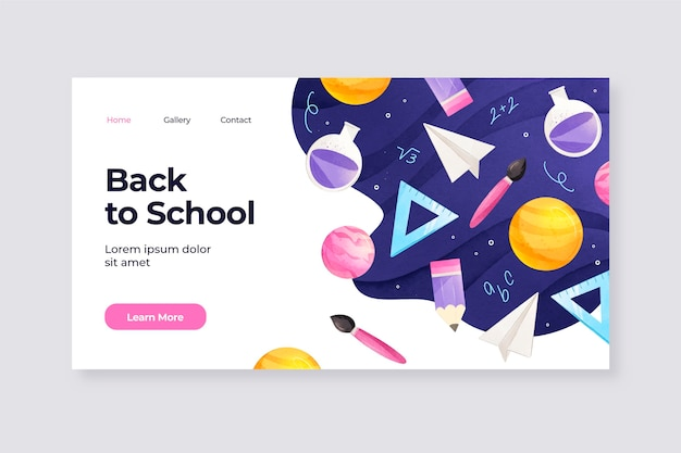 Watercolor back to school landing page template
