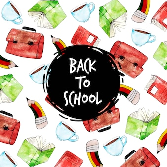 Watercolor back to school pattern background