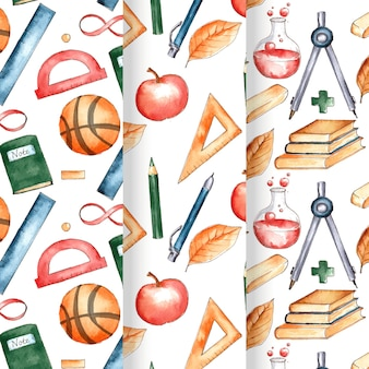 Watercolor back to school pattern collection