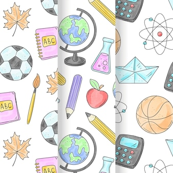 Watercolor back to school pattern collection Free Vector