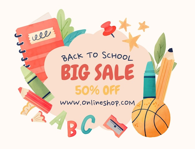 Watercolor back to school sales background