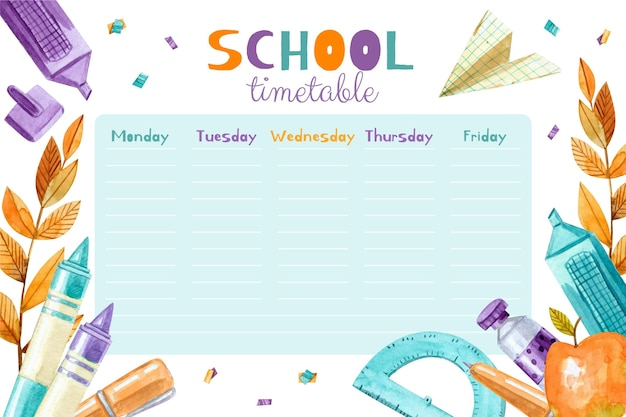 Watercolor back to school timetable template