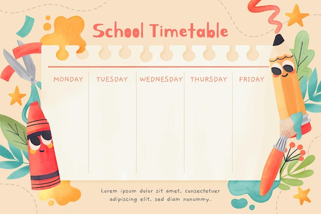 Modello di orario di ritorno a scuola dell'acquerello