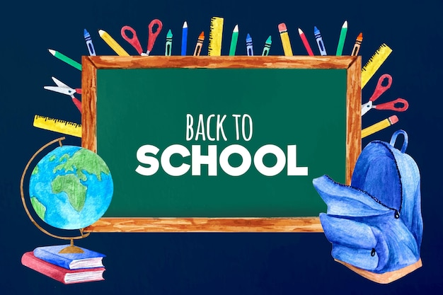 Watercolor back to school wallpaper