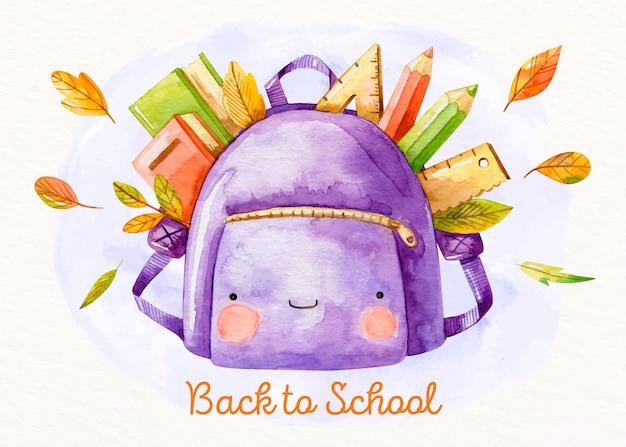 Carta da parati acquerello torna a scuola
