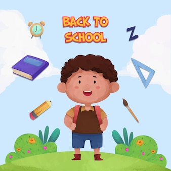 子供のキャラクターと学校の背景に戻る水彩画