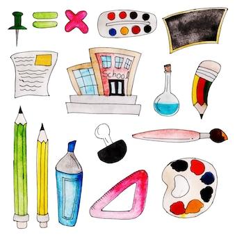 水彩、学校の要素コレクションに戻る