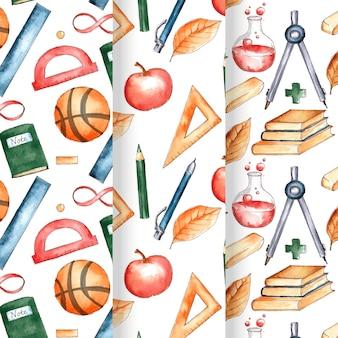 水彩画の学校に戻るパターンコレクション