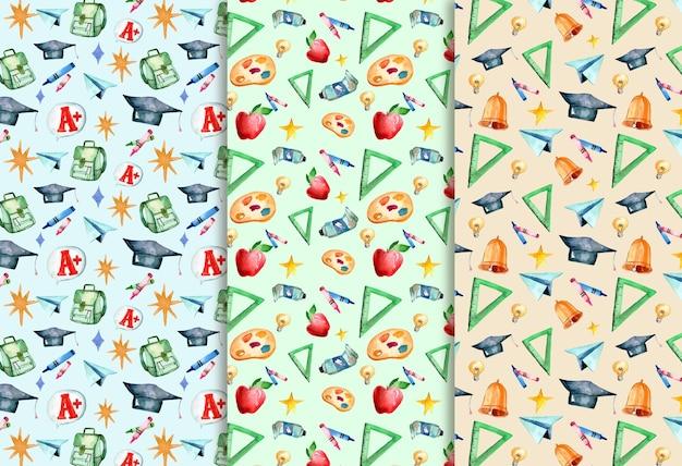 학교 패턴 컬렉션으로 다시 수채화