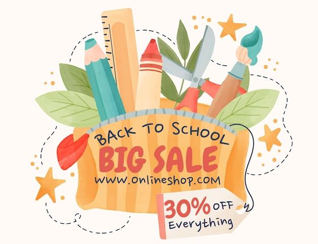 水彩画の学校に戻る販売の背景
