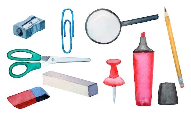 깎이 위, 지우개, 분필, 돋보기, 종이 클립, 마커, 연필, 버튼의 학교 등을 맞댄 수채화.
