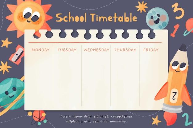 학교 시간표 템플릿으로 다시 수채화