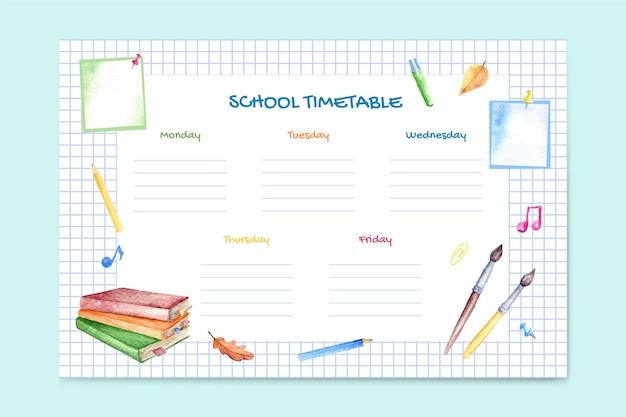 Шаблон расписания акварели обратно в школу