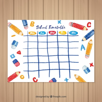 Watercolor back to school timetable