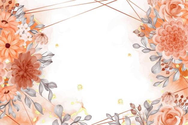 水彩背景抽象的な花オレンジ秋のテーマと空白