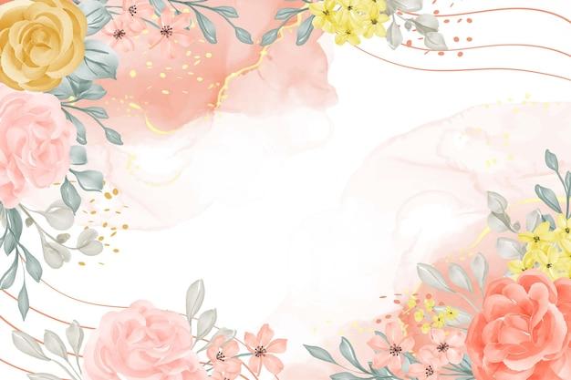Акварель фон абстрактный с цветком и листьями