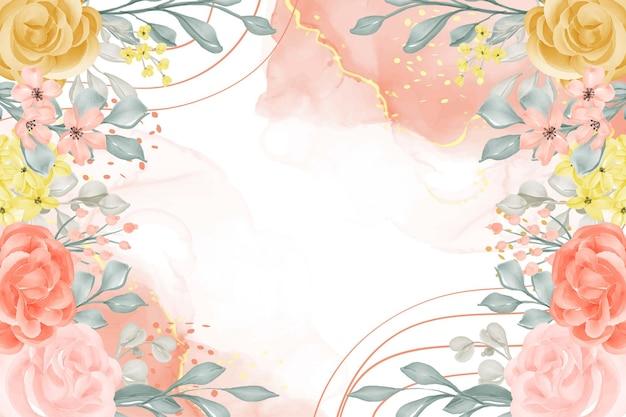 花と葉で抽象的な水彩画の背景