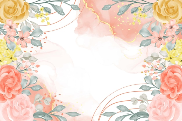 Watercolor background abstract with flower and leaves