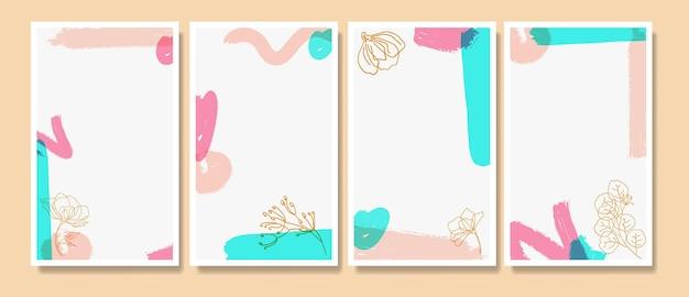 水彩画の背景と葉の線画ミッドセンチュリーinstagramストーリーテンプレート