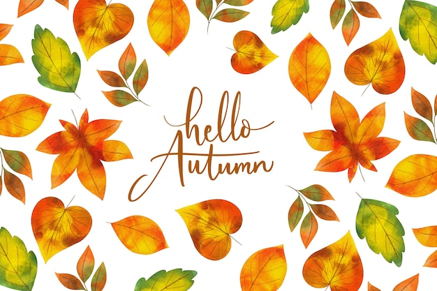 Watercolor background autumn leaves