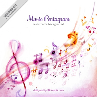 Watercolor background of beautiful musical notes