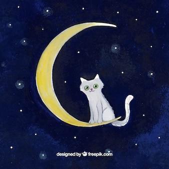 月面上の水彩画の背景猫