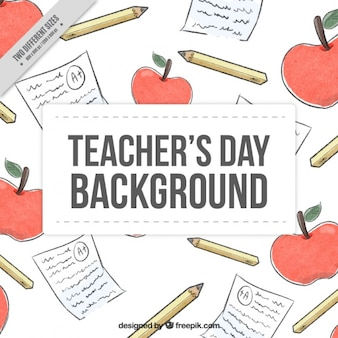 Watercolor background to celebrate the teacher's day